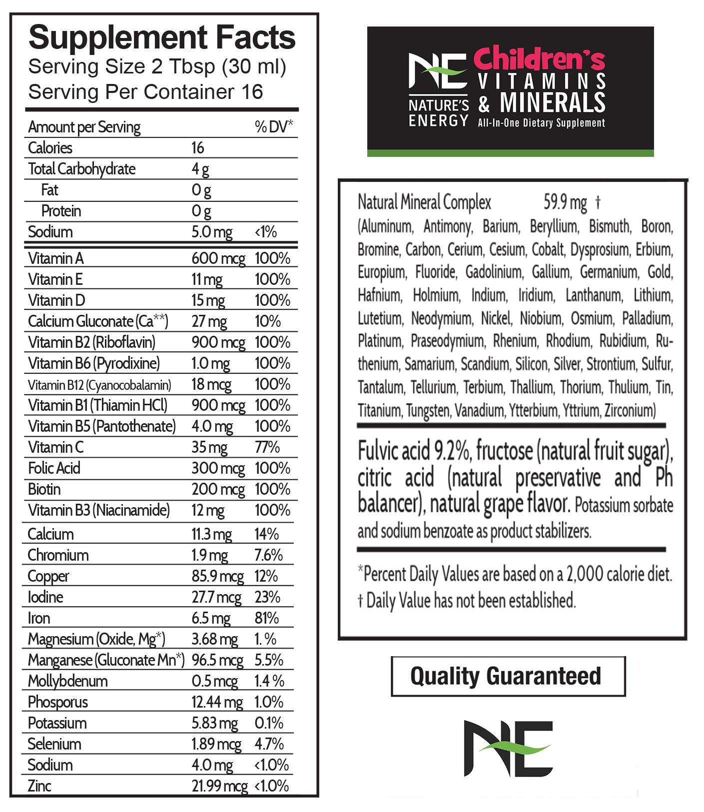 Prenatal vitamins and minerals supplement facts